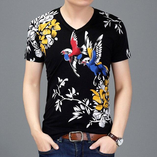 絶妙な花と鳥柄プリント高級半袖 tシャツ夏 2019 新品質のコットンストリート tシャツ m-3XL