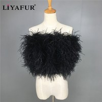 Women Real Genuine Ostrich Feather Fur Wedding Dress Wrap Bride Bridesmaid Cape Bust Wraps Party Shrug for Night Club