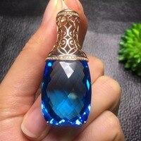 Fine Jewelry индивидуальные коллекции Настоящее 18 К Белое золото 100% натуральный голубой топаз драгоценный кулон Цепочки и ожерелья для Для женщи
