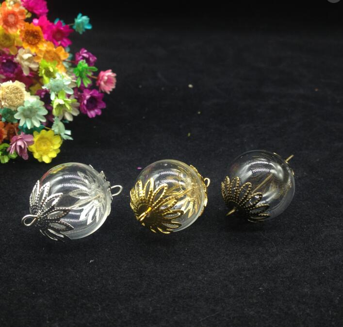 цена на 100sets 20mm Glass Globe Vial with Two Hole Flower Beads Cap & Eye Pin DIY Glass Vial Pendant necklace jewelry Glass Cover Vial