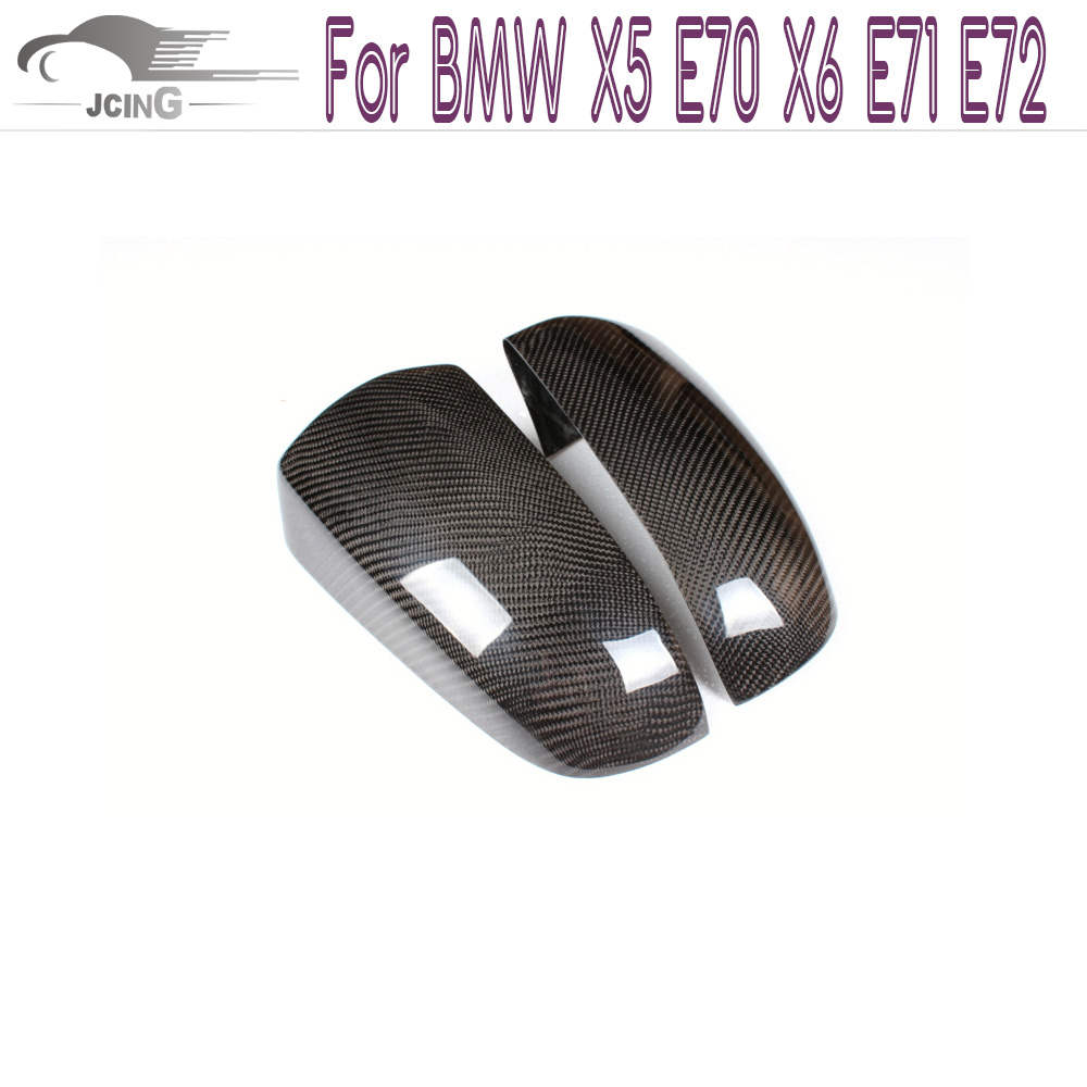 Carbon Fiber Add on style Side Wing Rearview Mirror Cover Caps For BMW xDrive Series X5 E70 X6 E71 E72 2008-2014 replacement car styling carbon fiber abs rear side door mirror cover for bmw 5 series f10 gt f07 lci 2014 523i 528i 535i