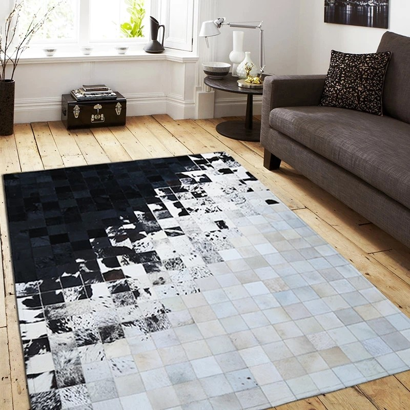 American Style All Match Black And White Mixed Cowhide Skin Fur Patchwork Rug, Big Size Living Room Carpet,decoration Villa Rug