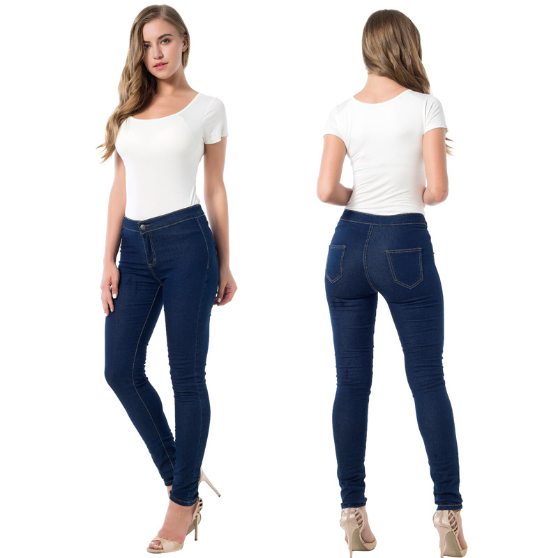 2017 New High Waist Skinny Jeans Women Fashion Deep Blue Elastic Pencil Pants Europe and America Push Up Vintage Trousers Mujer