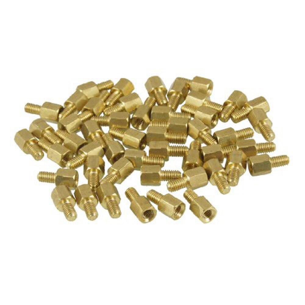 New Queen! 50 Pcs Brass Screw PCB Standoffs Hexagonal Spacers M3 Male x M3 Female 5mm