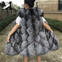 Natural Fox Fur Vest Women Winter Sleeveless Genuine Silver Fox Fur Coat Female Red Fox Fur Vests