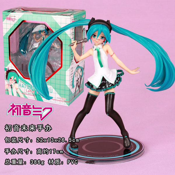 17cm Hatsune Miku with mike Anime Collectible Action Figure PVC toys for christmas gift with retail box free shipping