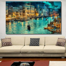 A Small Town At Night Moat Building Ship Painting Canvas Wall Art Picture On Prints Poster Home Decor No Frame