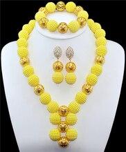 Amarillo perlas Africanas joyería conjunto 18 k oro plateado granos de la bola de novia joyería nigeriano boda perlas africanas joyería Conjunto