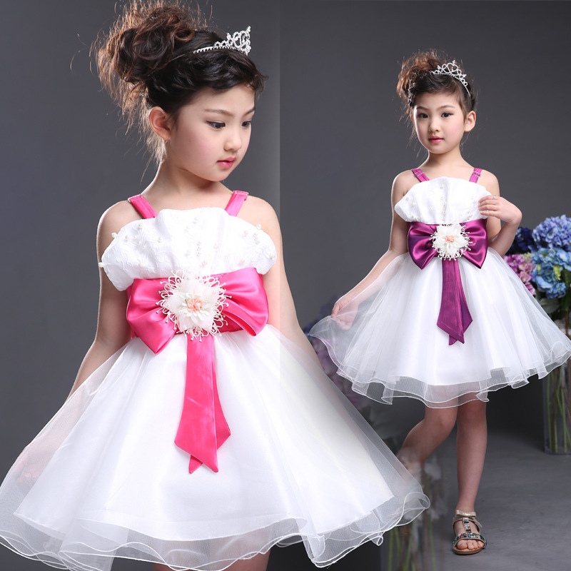 Vintage tulle frock High-Quality Lace Princess Baby Girl wedding party with bow tutu Dress cute sleeveless ball gown dress