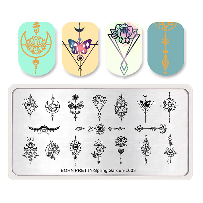 BORN PRETTY Spring Garden Stamping Template Rectangle Flower Leaf Butterfly Floral Nail Art Image Plate Nail Stamping Plates
