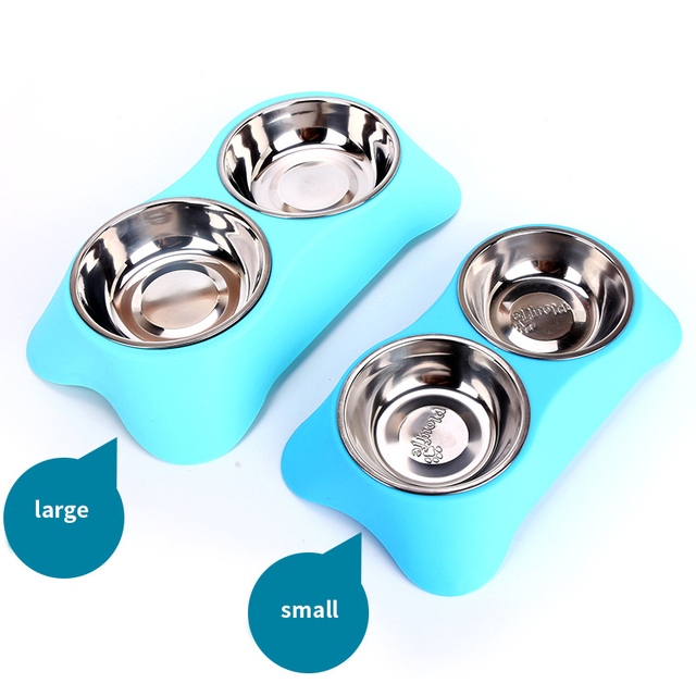 CAWAYI KENNEL Stainless Steel Double Pet Bowls for Dog Puppy Cats Food Water Feeder Pets Supplies Feeding Dishes Dogs Bowl D1202 1