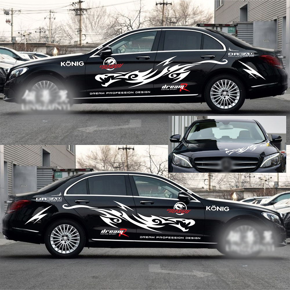 Car full body sticker design - 1 Set Car Styling Dragon Design Decals Full Body Stickers Car Personality Waterproof Automobiles Exterior Accessories
