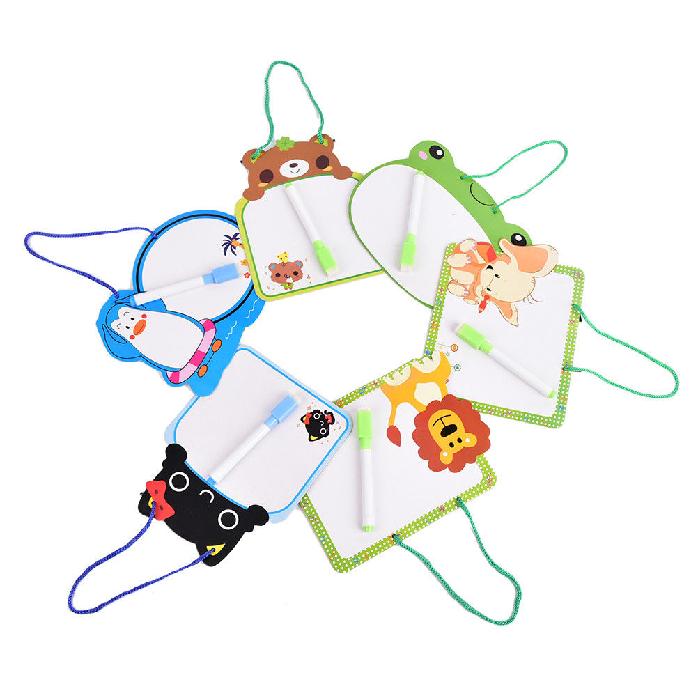 18cm*14cm Cartoon Animal Dry Wipe Cardboard Kids Whiteboard Drawing Kid White Board Hanging With Pen