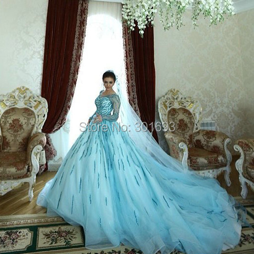 Oumeiya OW619 Custom Made Long Tail Ball Gown Hand Beaded V Neck ...