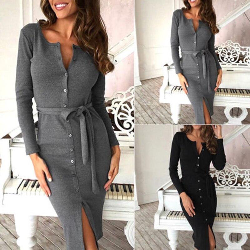 9a39cd4415a4 New Autumn Winter Dress Women Slim Long Sleeve Buttons Casual Bodycon  Cocktail Knee-Length Dress