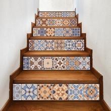 6 stücke Klassisches Design Fliesen Treppen Steigleitungen Aufkleber Set Treppe Aufkleber Abnehmbare Wasserdichte Wandbild Tapete für Heimtextilien