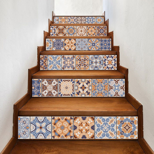6ピースクラシックデザインタイル階段ライザーステッカーセット階段デカール取り外し可能な防水壁画ホームデコレーション