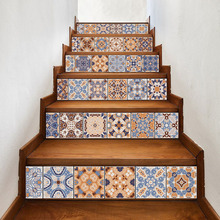 6pcs Classic Design Tile Stair Risers Stickers Set Staircase Decals Removable Waterproof Mural Wallpaper for Home Decoration
