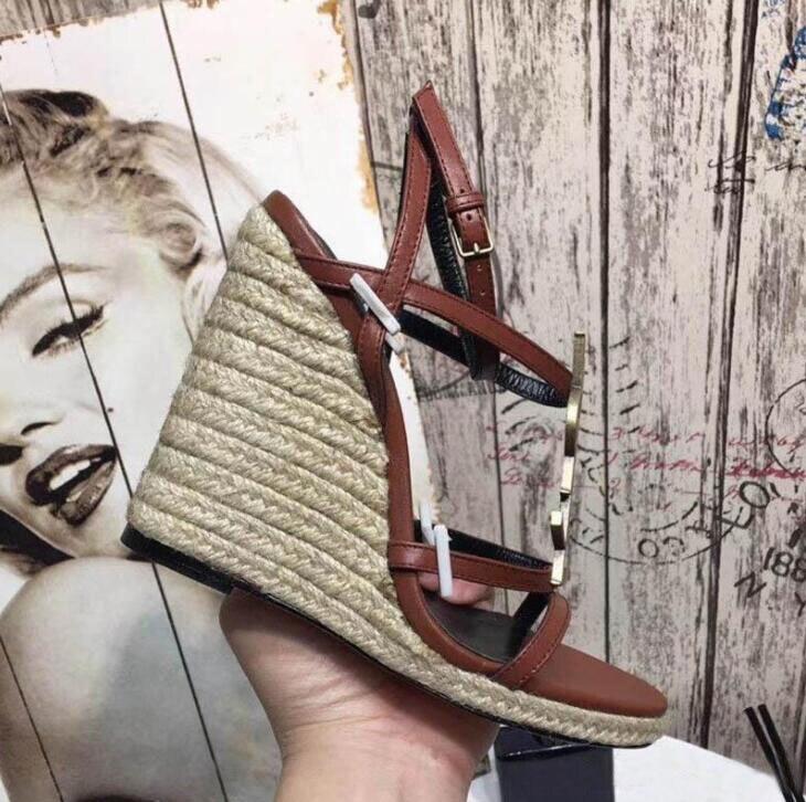 2019 Women Slide Sandals Designer Shoes Luxury Summer Fashion Wide Wedge Slippery Thick Sandals Slipper Flip Flops 35 41