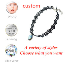 Hollow Designs Chain Black Clavicle Necklace Name Personalized Custom Necklaces Nameplate Pendant Not Change Color