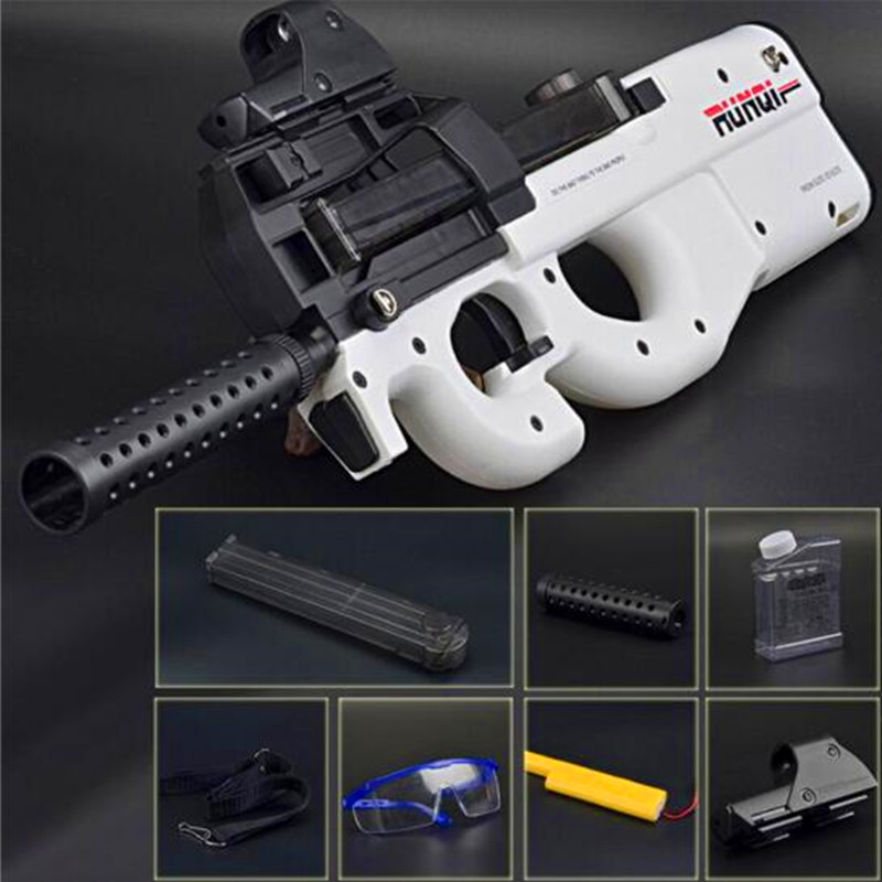 Live CS P90 Toy Rifle Gun Paintball Assault Snipe Weapon Soft Water Bullet Pistol with bullets Toys For Children Electronic toy assault rifle style zinc alloy gun keychain toy silvery black