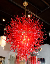 Modern Red Blown Glass Chandelier Lighting with LED lights Lustre