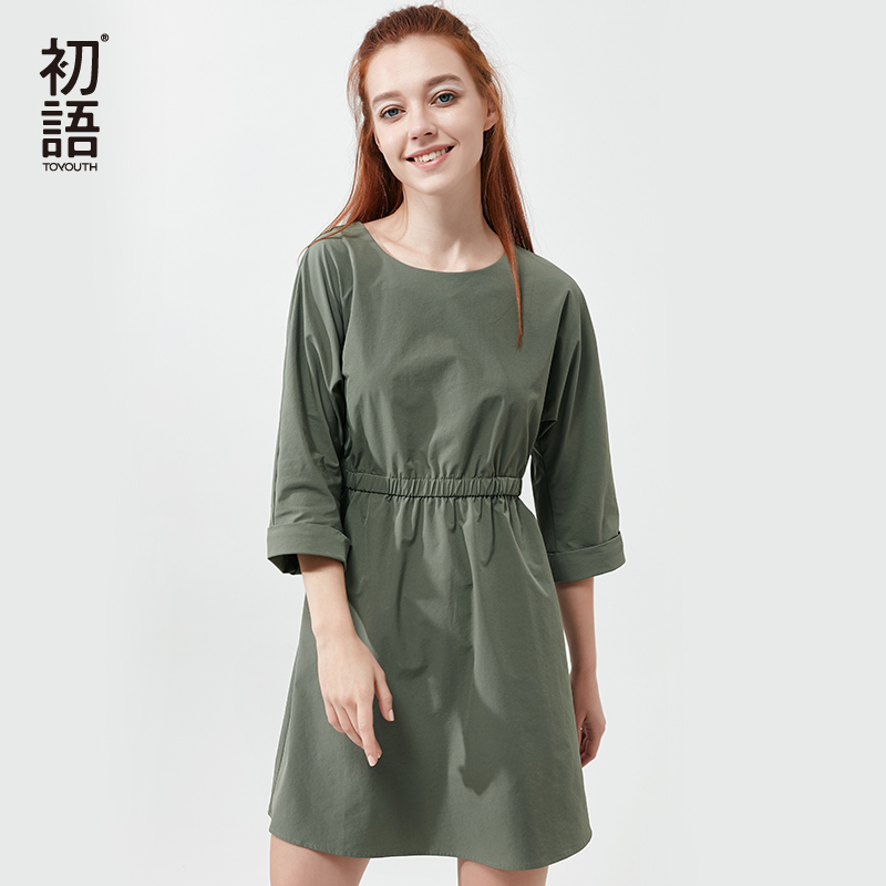 Toyouth Vintage Green Dresses For Women Casual Solid Three Quarter Sleeve Mini Dress Female Elastic Waist Loose Cotton Vestidos