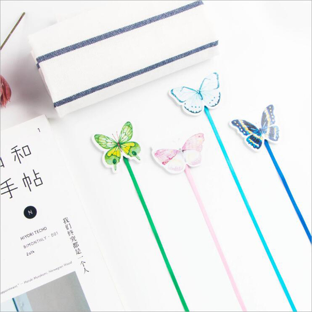 1pc New Erfly Paper Magnet Long Tail Bookmarks Premium Ribbon Bookmark Child Cute Gifts Office Stationery