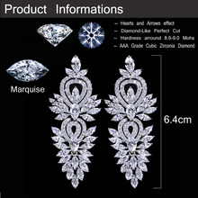 CWWZircons Vintage Wedding Party Jewelry Accessories Gorgeous Cubic Zirconia Big Long Luxury Bridal Earring For Women CZ309