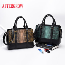 цены Fashion Serpentine Pattern Women Handbag Big Snake Skin PU Leather Crossbody Female Bag Brown Green Sac Femme Large Shoulder Bag