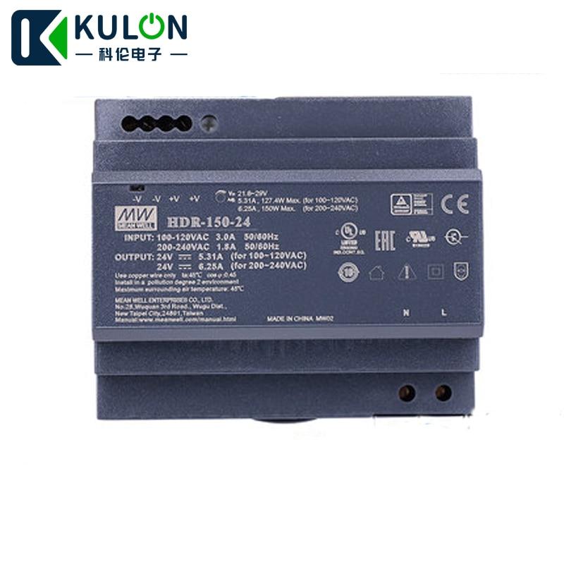 Meanwell HDR-150-24 24 V 5.31A 127.4 W 6.25A 150 W mince étape forme 85-264VAC 120-370VAC à DC simple sortie DIN Rail alimentation