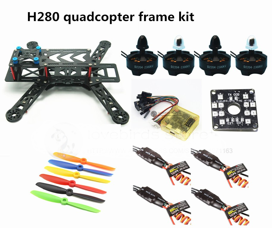 DIY H280 quadcopter frame kit FPV mini drone QAV280 pure carbon frame + CC3D + 2204 2300KV motor + BLHeli 12A ESC + 6045 prop new qav r 220 frame quadcopter pure carbon frame 4 2 2mm d2204 2300kv cc3d naze32 rev6 emax bl12a esc for diy fpv mini drone