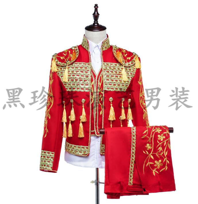 Red Men Suits Designs Masculino Homme Terno Stage Costumes For Singers Men Sequin Blazer Dance Clothes Jacket Style Dress Korean