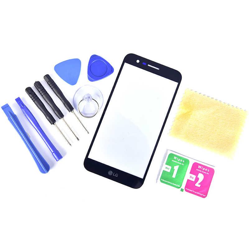 ل LG K10 2017 K410F M2 K430T K420N زجاج الشاشة الأمامية عدسة شاشة الكريستال السائل استبدال مجموعة (1 * عدسات زجاجية للشاشة + 1 * طقم أدوات)