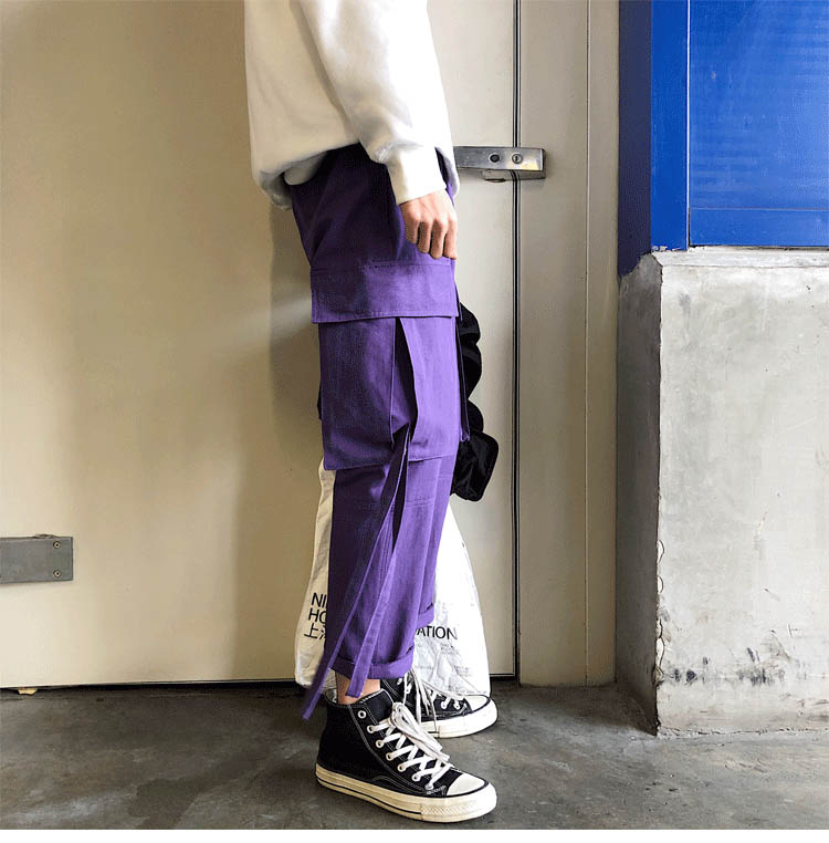 wholesale 2019 outdoor cargo loose hip hop elastic waist ribbon big pocket trekking hiking tactical camping straight pants men in Hiking Pants from Sports Entertainment
