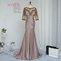 Dressgirl Brown 2016 Mother Of The Bride Dresses Mermaid Half Sleeves Crystals Wedding Party Dress Mother