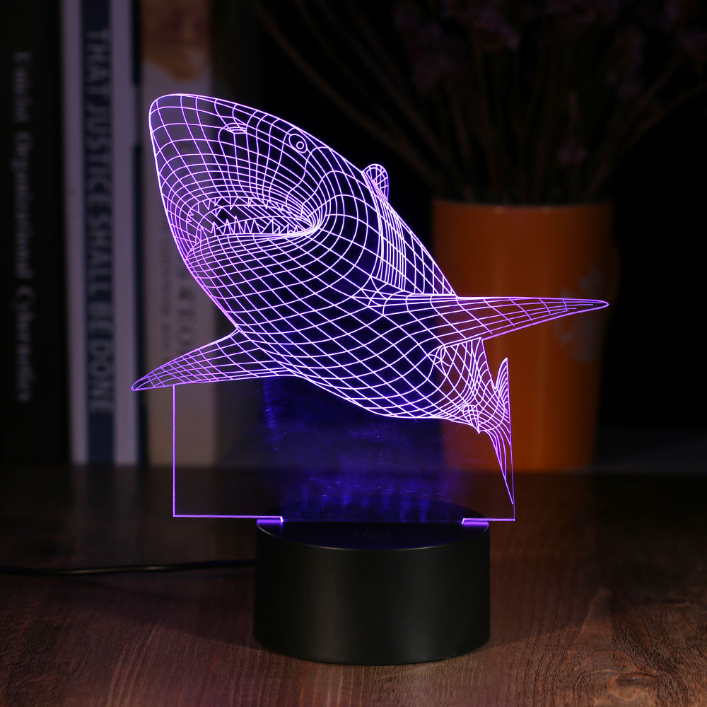 2017 new creative shark led 3d multi colored night light for 3 dimensional wallpapers 3d