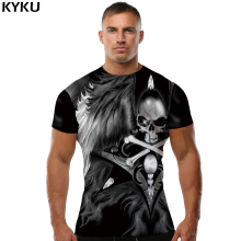 KYKU Brand Skull T shirt Wing shirts Funny Tees 3D Clothing Leisure Tshirt  T-shirt Men 3d Top Tee Slim Homme
