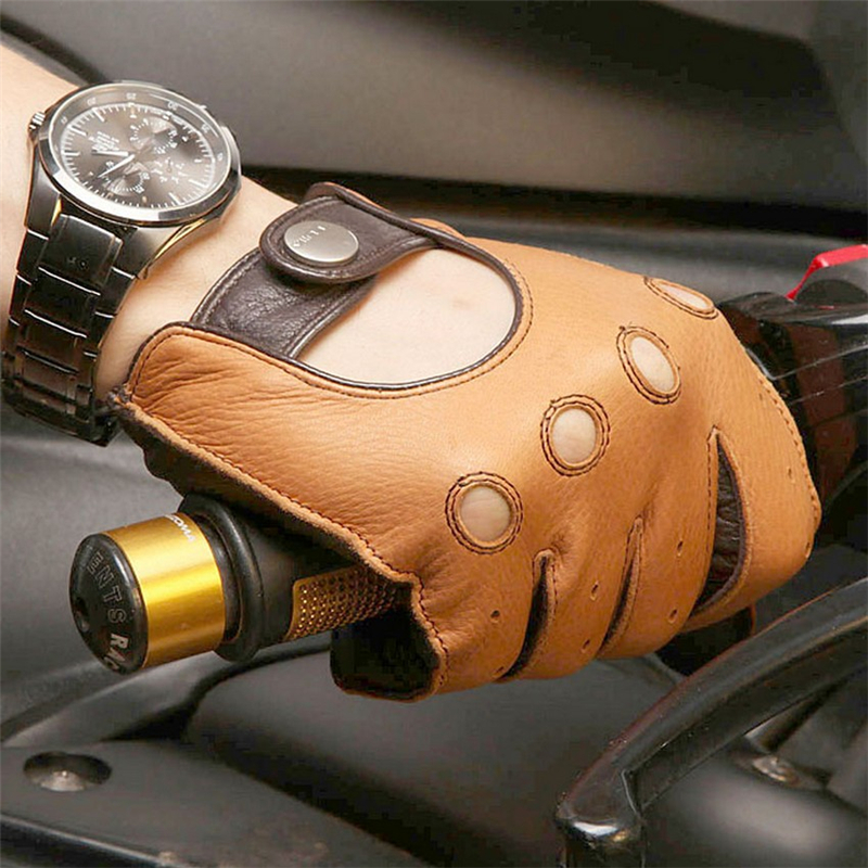 Genuine Leather New Arrival Luxury Men Gloves Fashion Deerskin Driving Glove Solid Wrist Breathable Motorcycle EM002W 5 in Men 39 s Gloves from Apparel Accessories