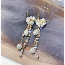 FYUAN Long Tassel Crystal Drop Earrings for Women Bijoux  White Acrylic Flowers Pearl Dangle Fashion Jewelry Gifts