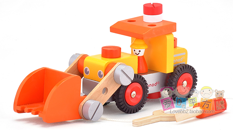 ФОТО 2 colors Brand wooden rooter car  block toys/ Kids Children assemble 3D truck block with nut tools for educational toys