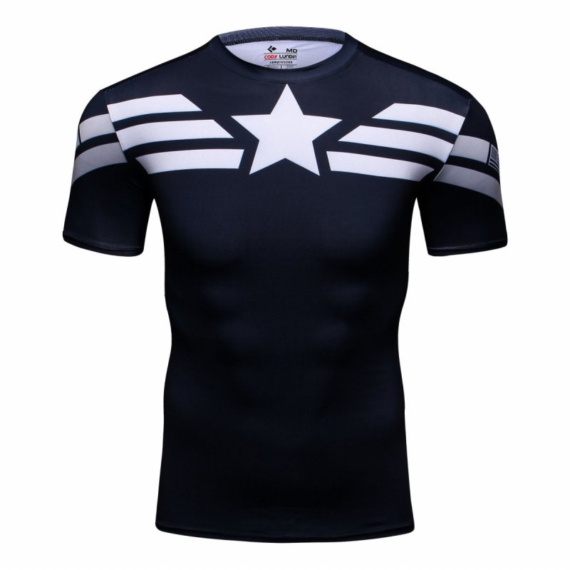 Red Plume Men's Compression Sport Tight Shirt Movie Captain Hero Training Workout Base Layers Sports Running Fitness T-shirt image