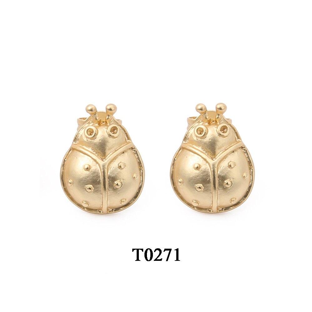 T0271A,亚金色合金镀真金金龟子耳钉,大约11X14.5mm,针大约11mm