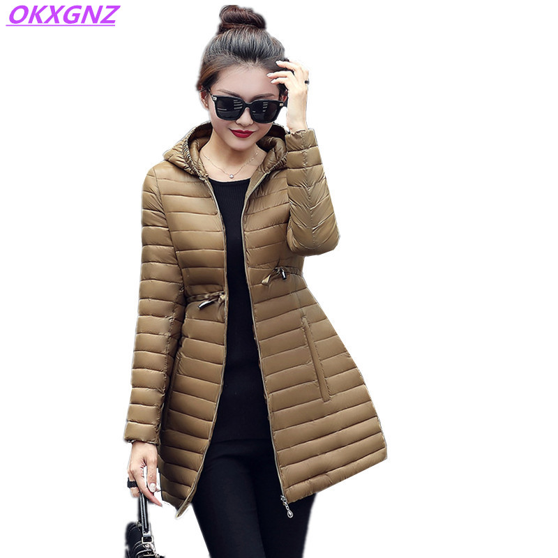 New Women's Winter Down Cotton Jackets Light Thin Warm Coats Fashion Hooded Medium Length Parkas Plus Size Slim Outerwear OKXGNZ new women s autumn winter down cotton coats fashion solid color casual keep warm jackets thin light slim parkas plus size okxgnz