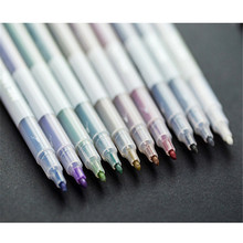 10 pcs/Lot Metallic Pen Detailed Marking Color Metal Marker for Album Black Paper Drawing School Art Supplies Point Stone 701 стоимость
