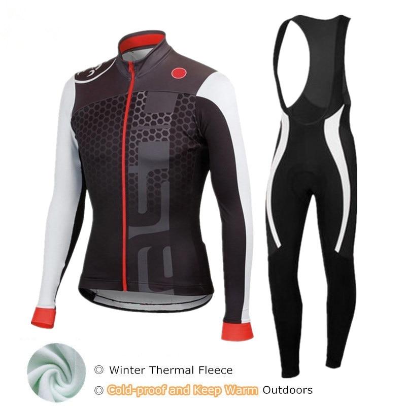 Merida Fleece Cycling Long Kit Men/'s Thermal Winter Bicycle Jersey and Pants Set