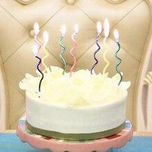 8 шт/лот цветная изогнутая Свеча для торта, безопасное пламя, детский праздничный торт на день рождения, свадьбу, свеча украшение дома