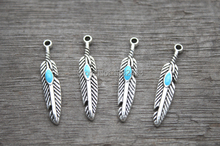 20pcs-- Feather charms, AntiqueTibetan silver Feather with Faux Tur quoise Charm Pendant 27x6mm(China)