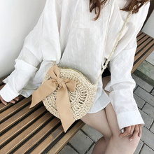 купить 2019 Round Bow Straw Bags Women Summer Rattan Bag Handmade Woven Beach Cross Body Bag Circle Bohemia Handbag Bali Lowest price по цене 759.43 рублей