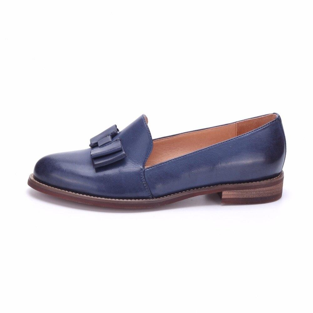 Zapatos de mujer de cuero genuino YINZO marca Vintage zapatos planos de punta redonda hechos a mano oxford zapatos para mujer slip on mocasines-in Zapatos planos de mujer from zapatos    2